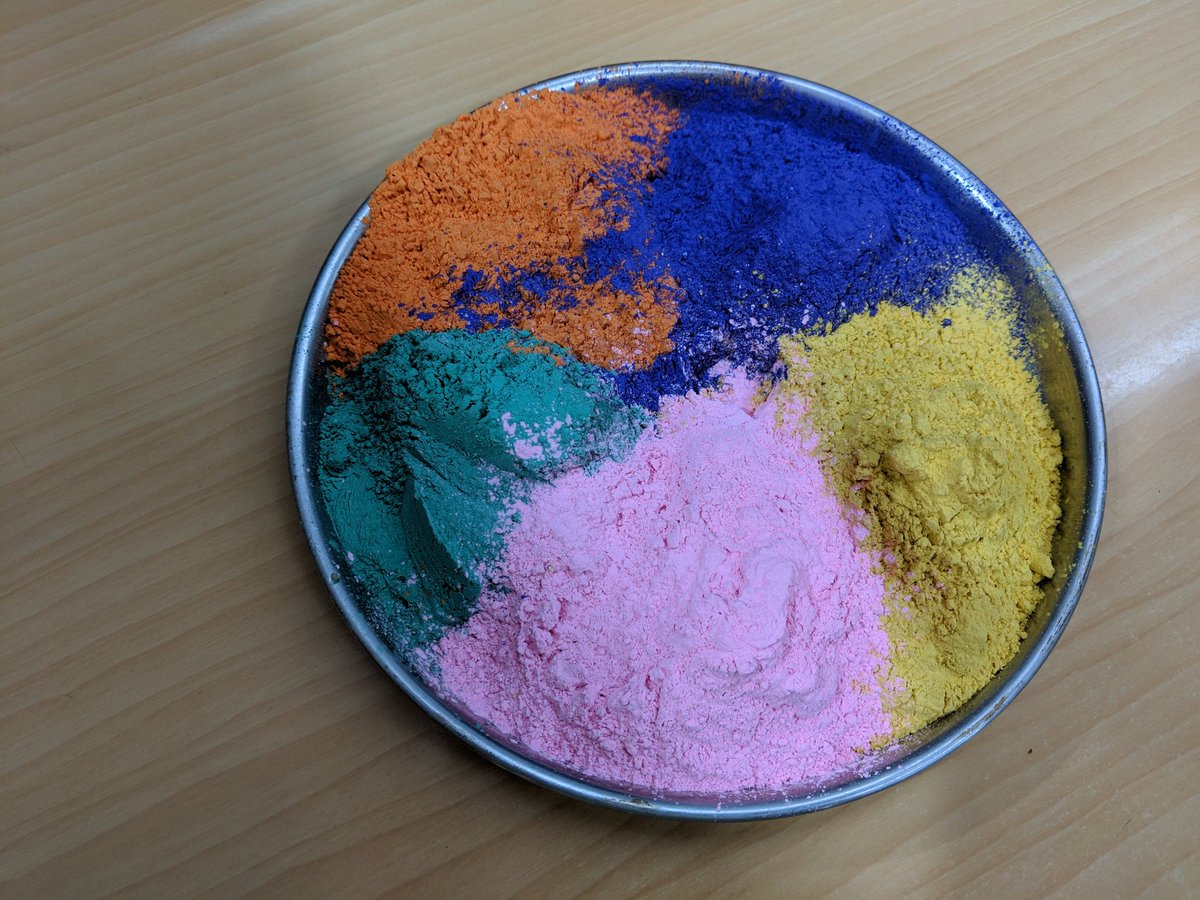 Bowl filled with colourful powders for the Indian festival of Holi